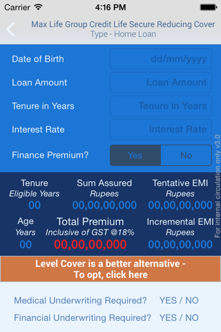 MaxLife Premium Calculator - náhled
