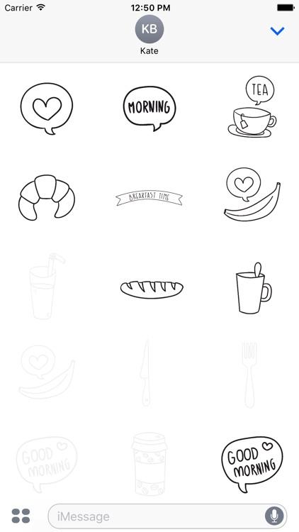 Animated Cute Breakfast Stickers