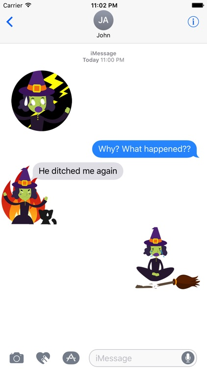 Animated Evil Green Witch Stickers Pack screenshot-3