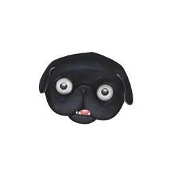 Black Pug Emoji Stickers