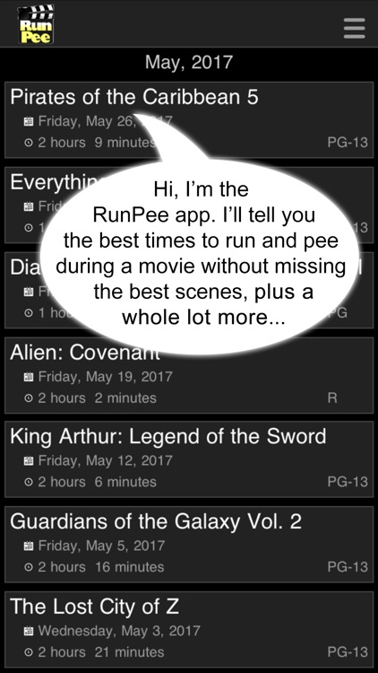 RunPee: because theaters don't have pause buttons. screenshot-0
