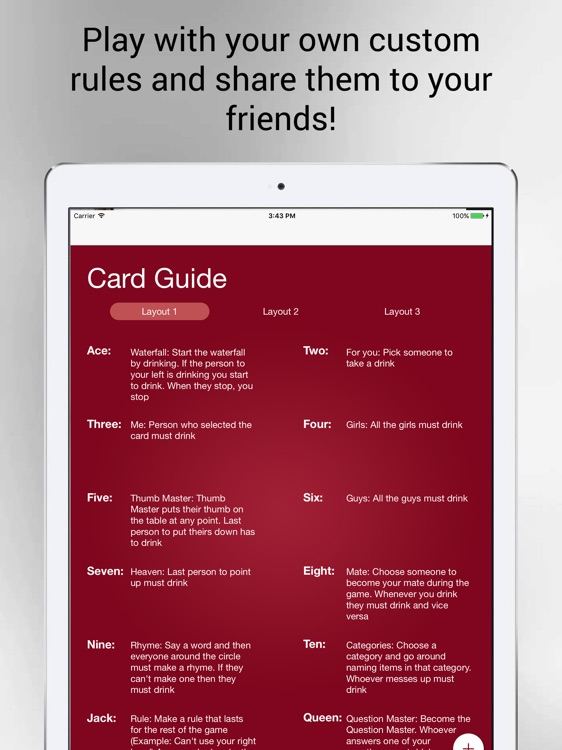 Kings Cup Drinking Game for iPad