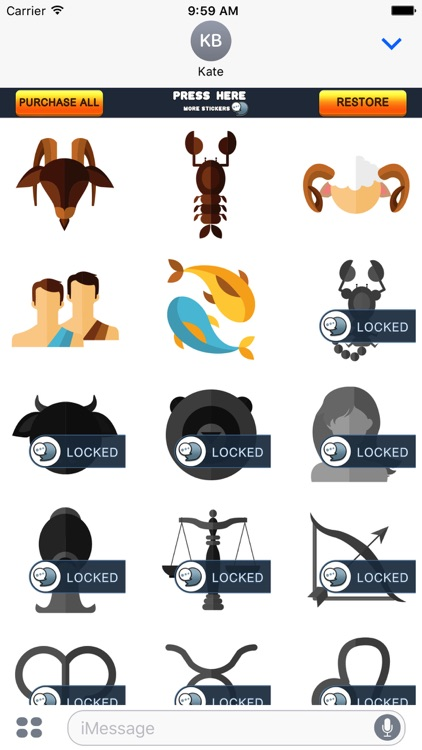 Astrological Zodiac Stickers for iMessage