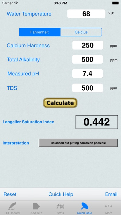 Langelier Saturation Index, LSI Job Logbook screenshot-3