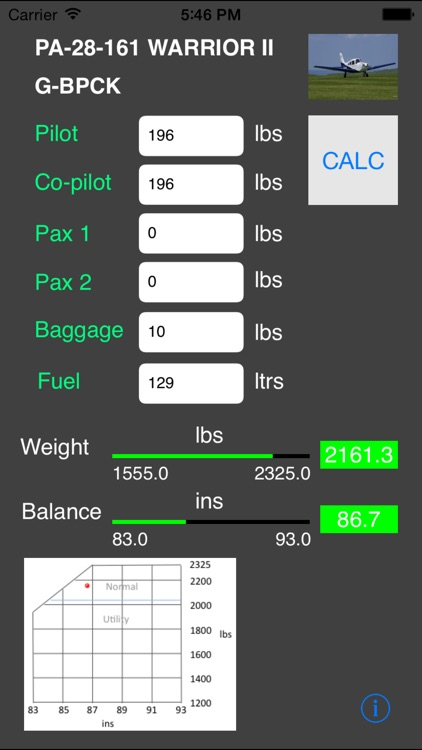 G-BPCK Weight and Balance