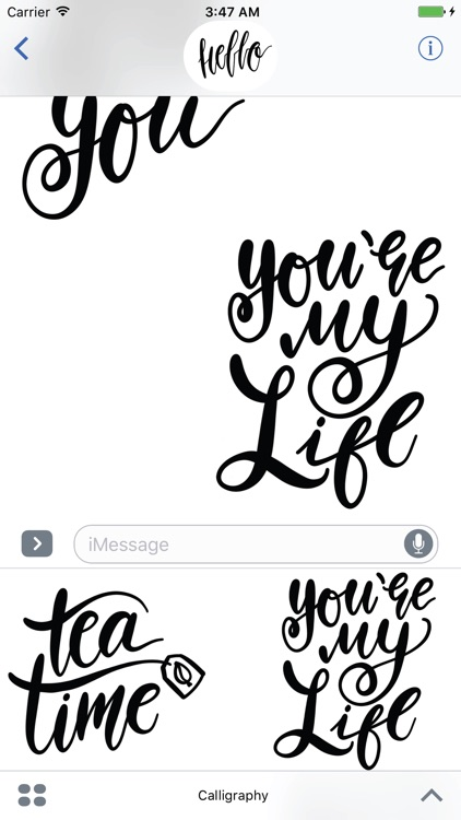 Hello Calligraphy! Stickers for iMessage screenshot-3