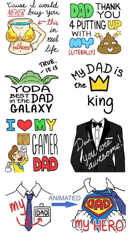 Father's Day Animated Sticker Pack: Coolest Pop screenshot-1