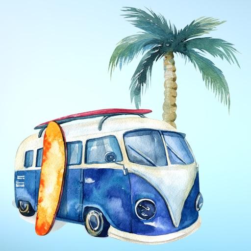 Surfs Up Summer Vacation Beach Sticker Pack