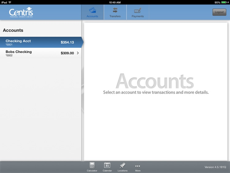 Centris Mobile Banking for iPad