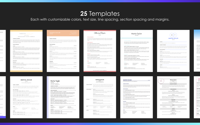 Resume Builder by Nobody on the Mac App Store