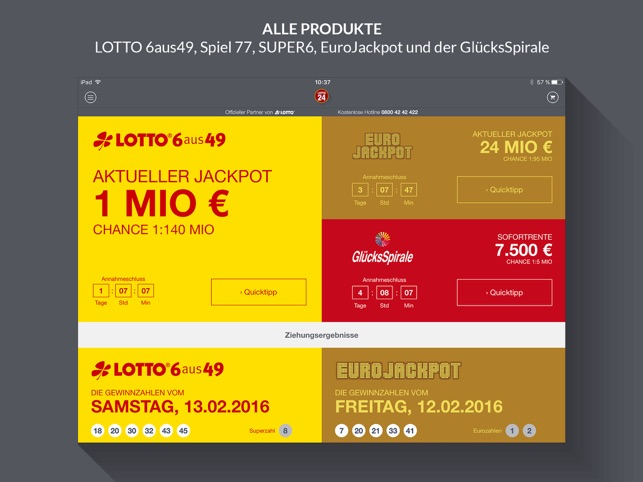 Lotto und EuroJackpot App Screenshot