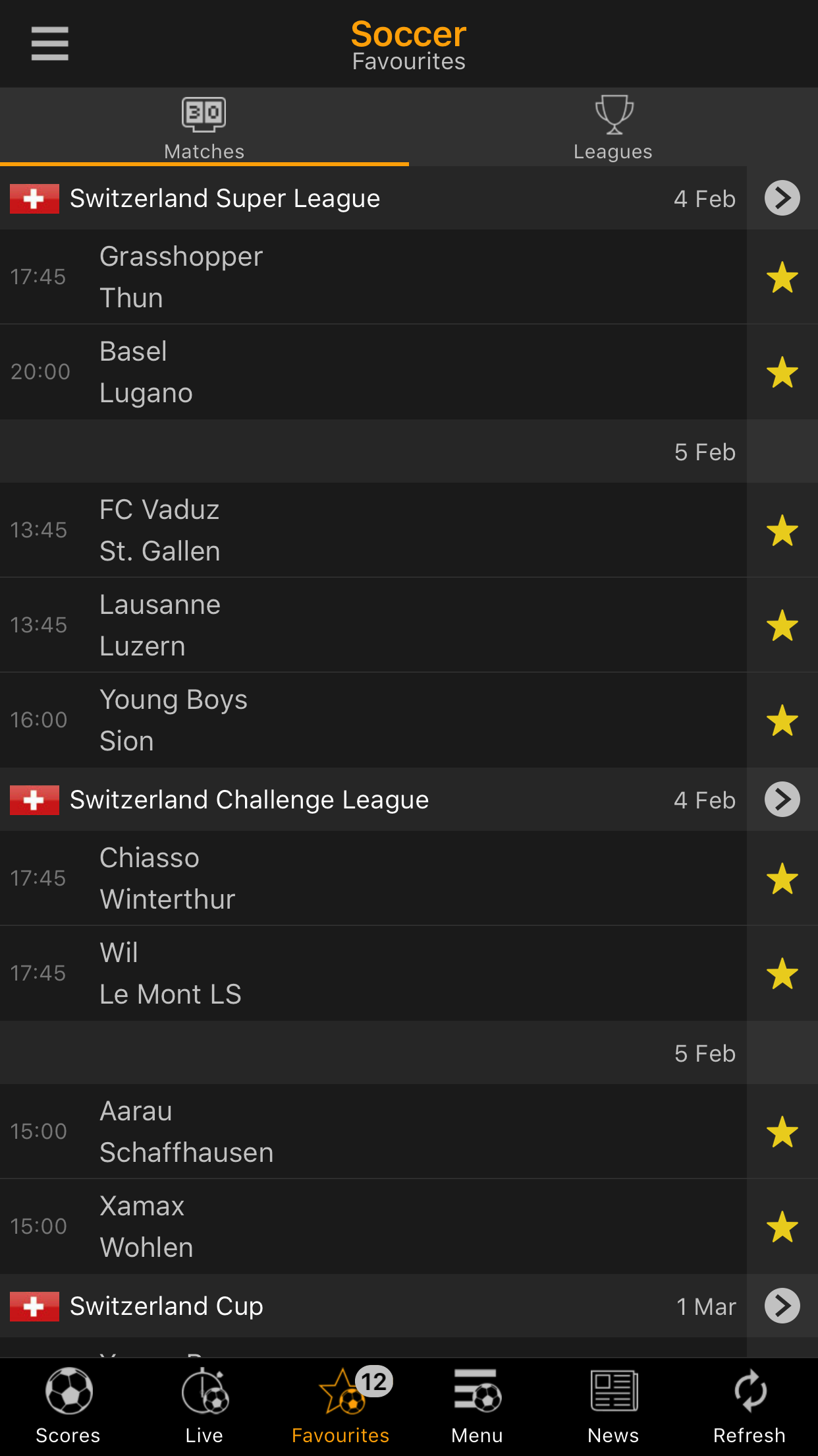 LiveScore Screenshot