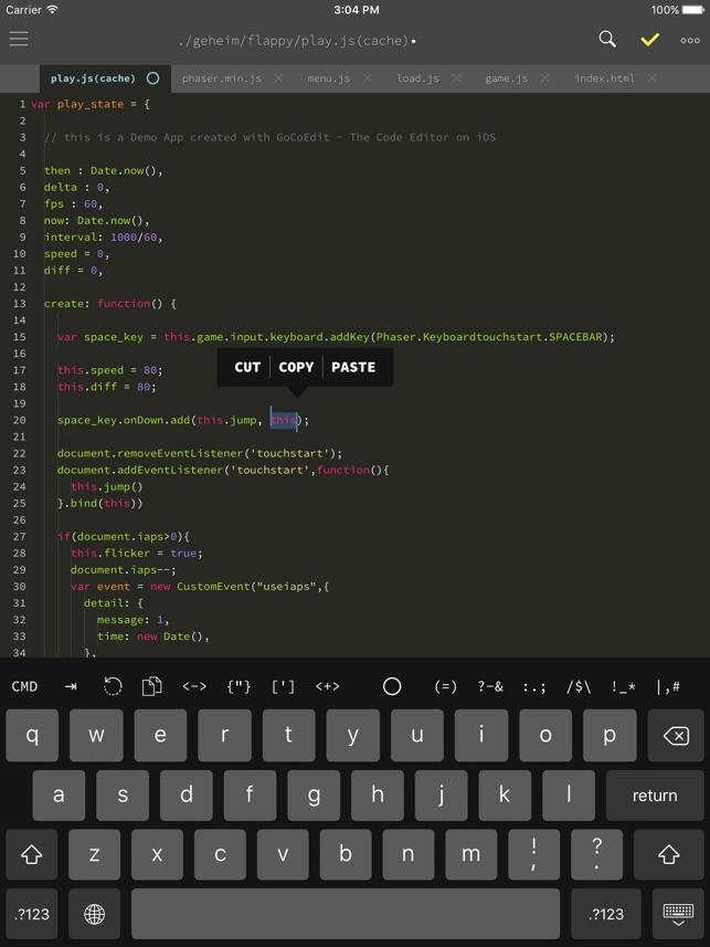GoCoEdit - Code & Text Editor Screenshot