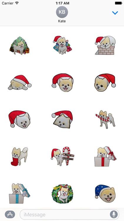 Pomeranian Dog in Xmas Sticker