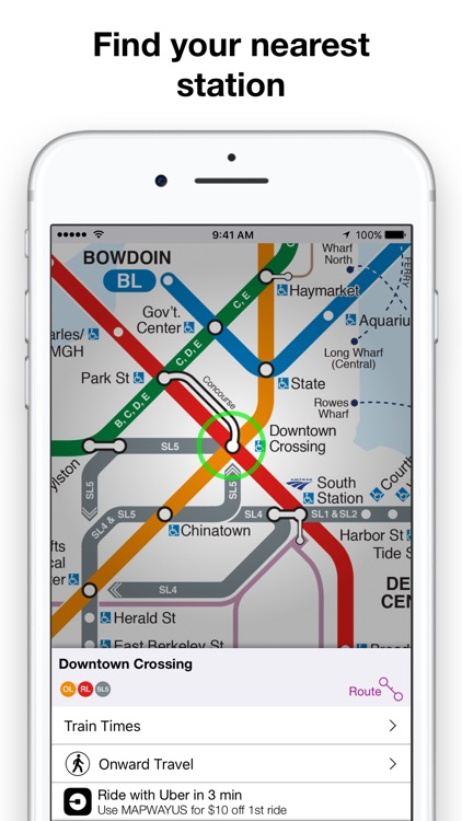 Boston Subway Map App.Boston T Map Mbta Subway Map By Mapway Limited
