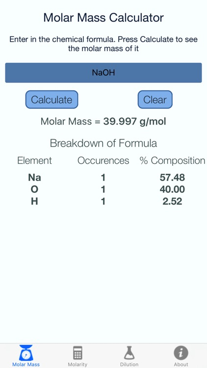 Molar Mass and Molarity Calculator