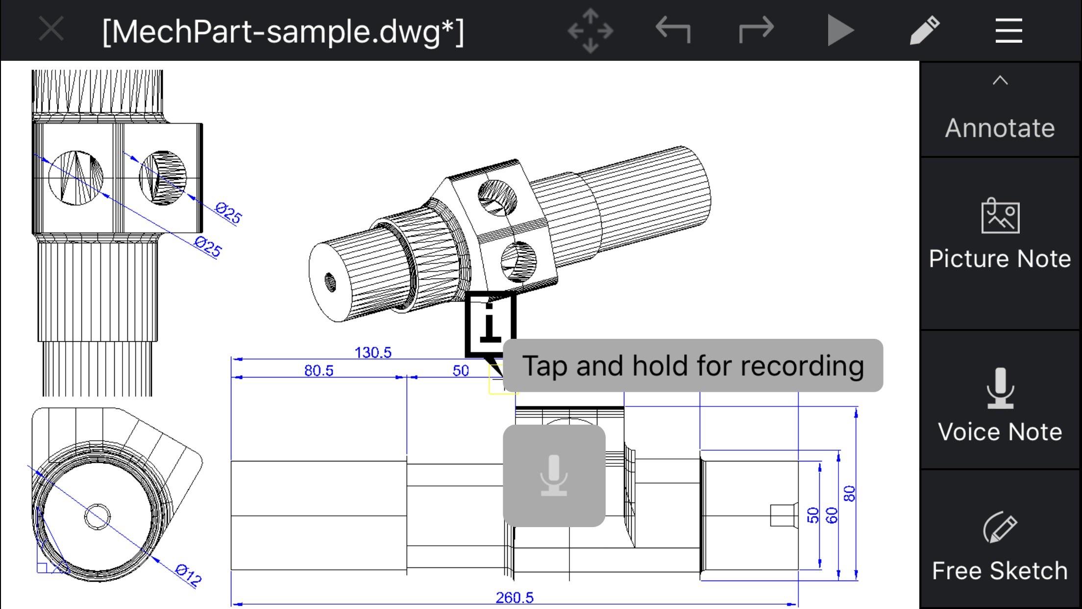 Screenshot do app CorelCAD Mobile