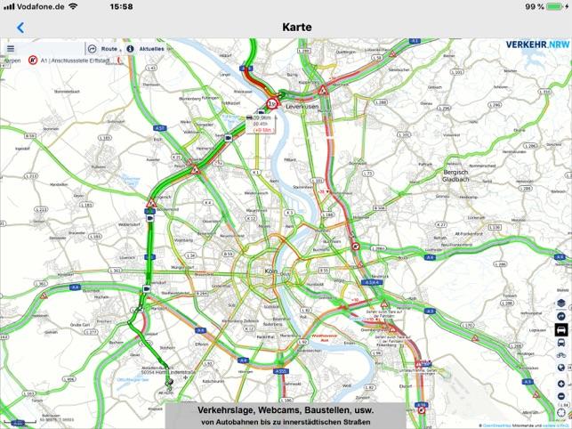 Karte Von Nrw.Verkehr Nrw Verkehrsinfo Im App Store