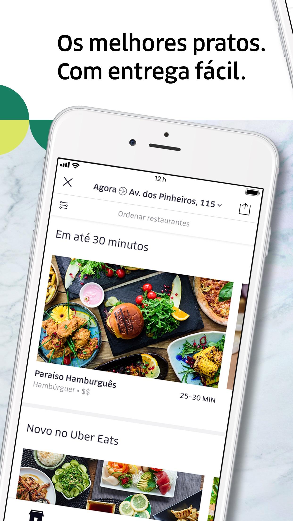 Screenshot do app Uber Eats: entrega de comida