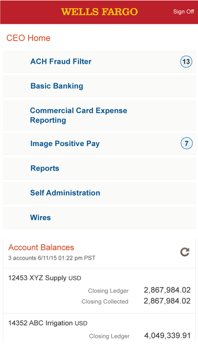 Wells Fargo CEO Mobile Screenshot
