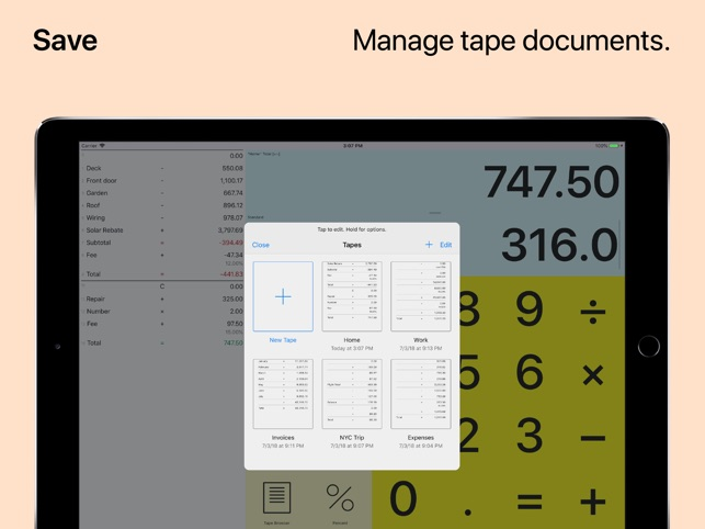 Digits Tape Calculator Screenshot