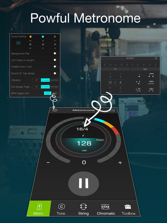 Chromatic tuner and metronome Screenshots