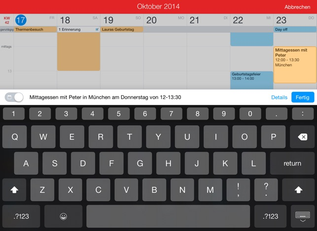 Fantastical 2 für iPad Screenshot
