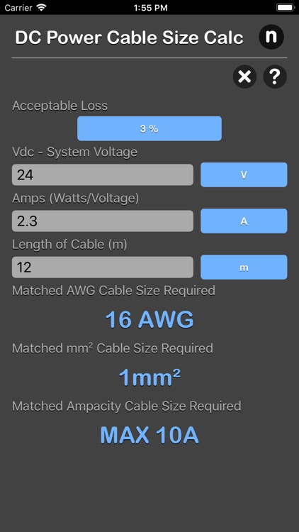 DC Power Cable Size Calc screenshot-3