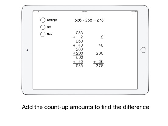 Counting-Up Subtraction Screenshots