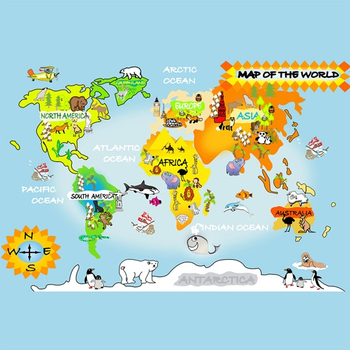 Download Animals with the world map free for iPhone, iPod and iPad