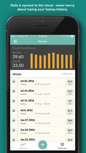 fuelly mpg mileage service on the app store