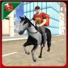 比萨送货男孩骑马