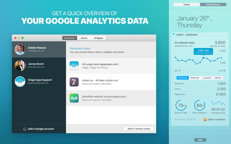 Screenshot GAget - for Google Analytics