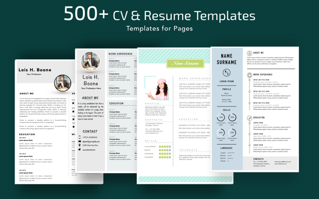 ‎Resume, CV Templates for Pages