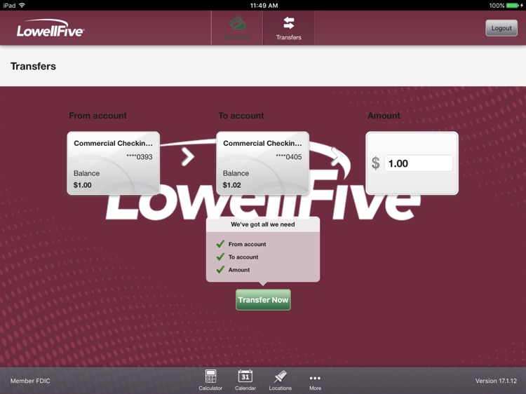 Lowell Five Bank for iPad screenshot-3