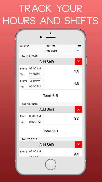 time card app track hours - Time Card App