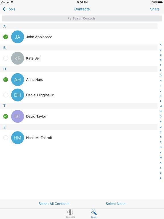 Backup Contacts + Restore Screenshots