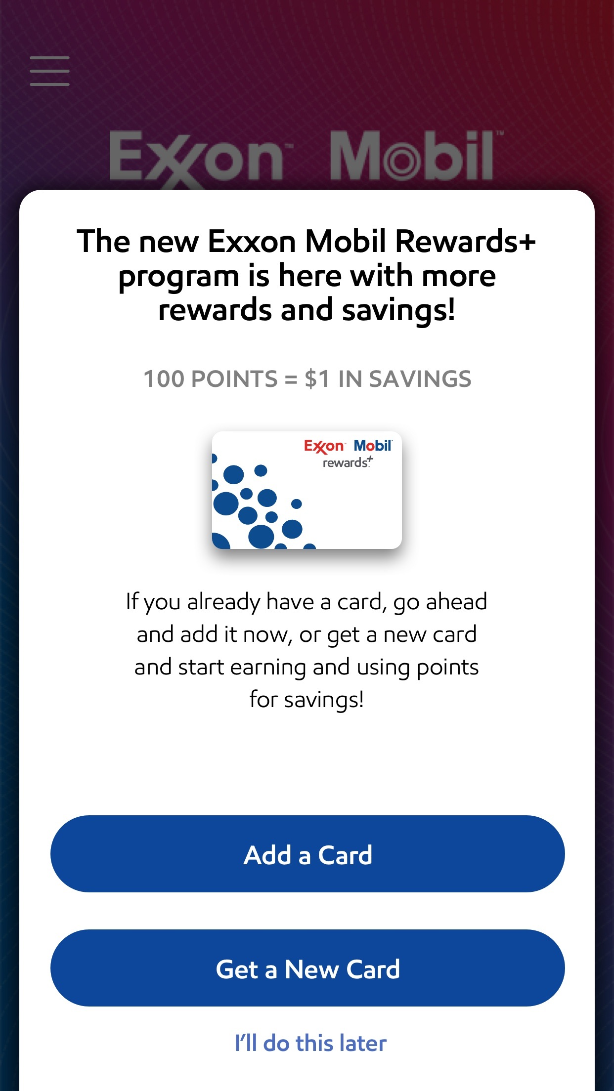 Exxon Mobil Speedpass+ Screenshot