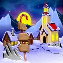 开心小猴之雪中小镇 - 欢乐的益智游戏