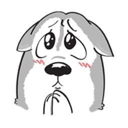 A Funny Husky Dog Stickers