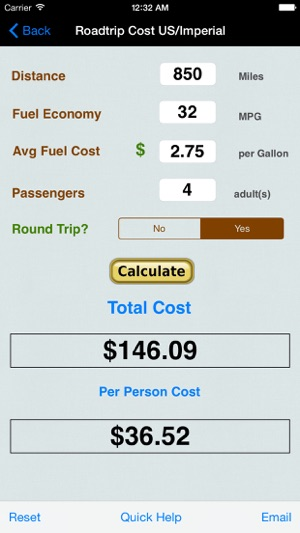 Roadtrip Gas Cost Calculator On The