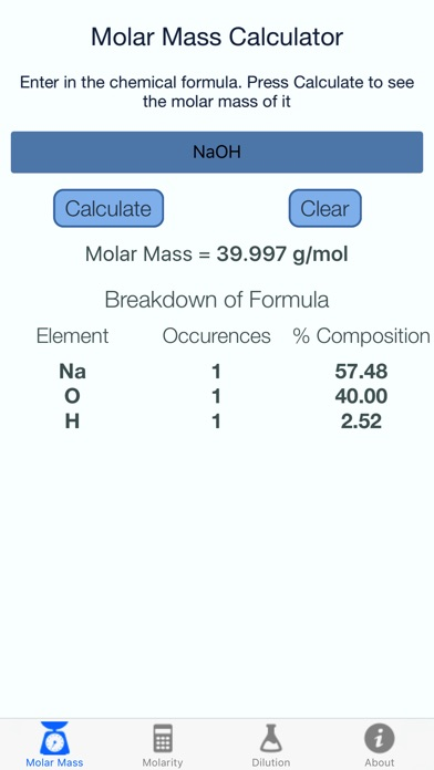 Molar Mass and Molarity Calculator - App - iOS me