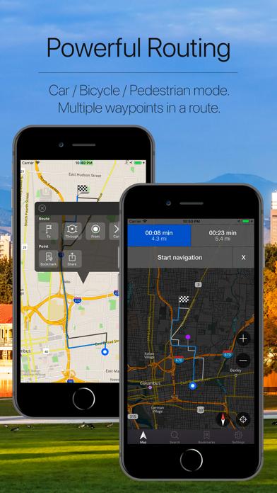 Ohio, USA Offline Navigation Screenshot