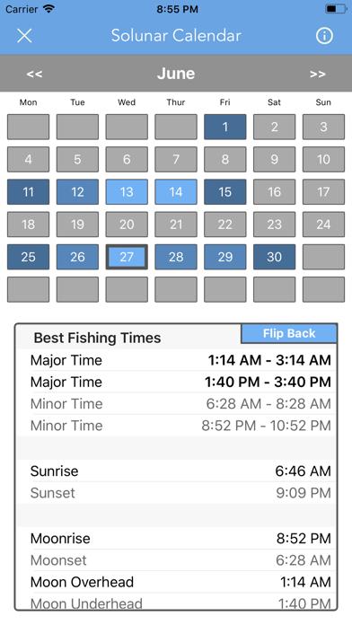 Best Fishing Times Calendar screenshot 6