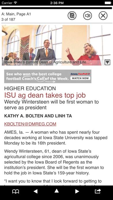 Des Moines Register Print Screenshot