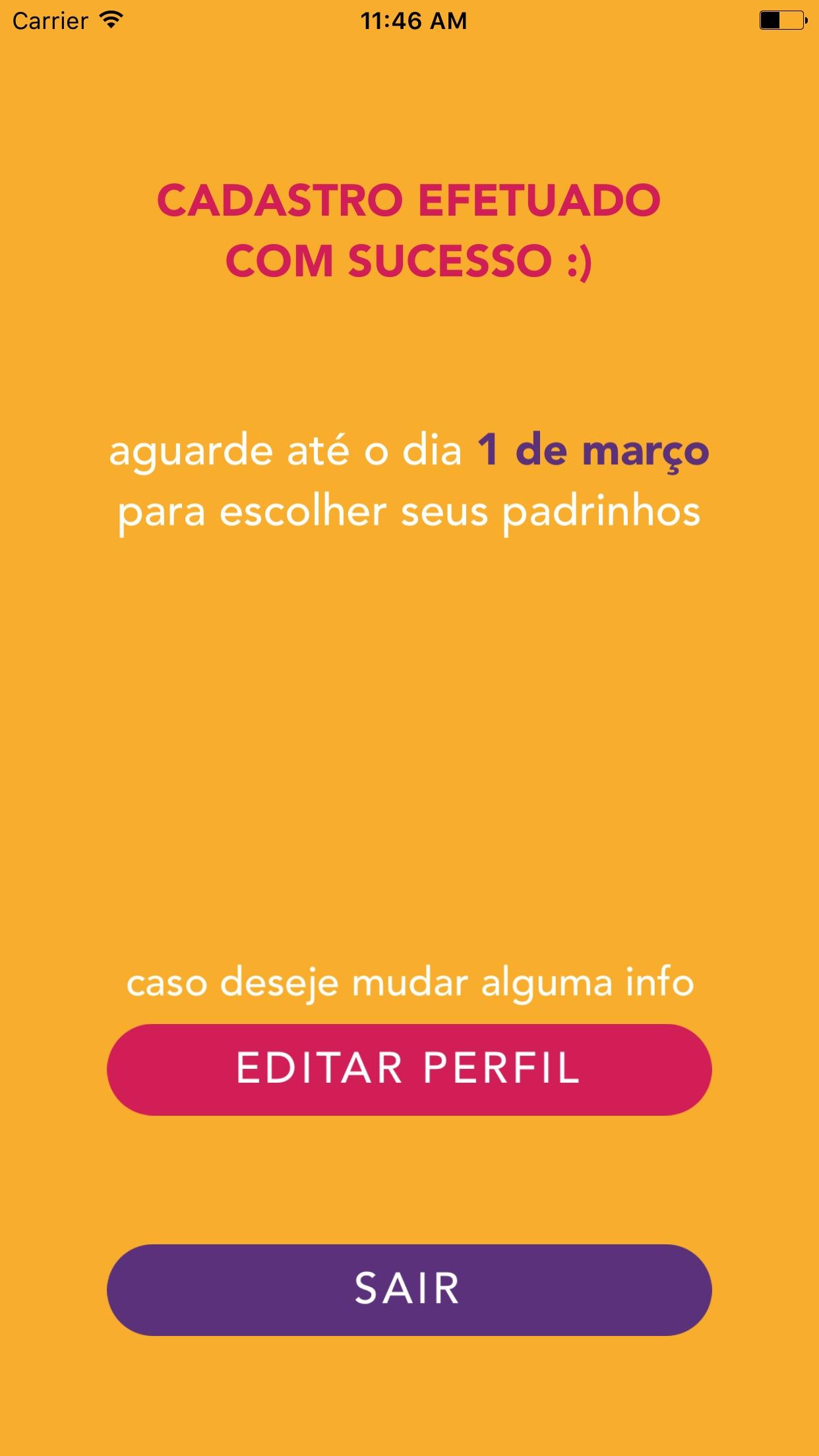 Screenshot do app Apadrinhamento: Design