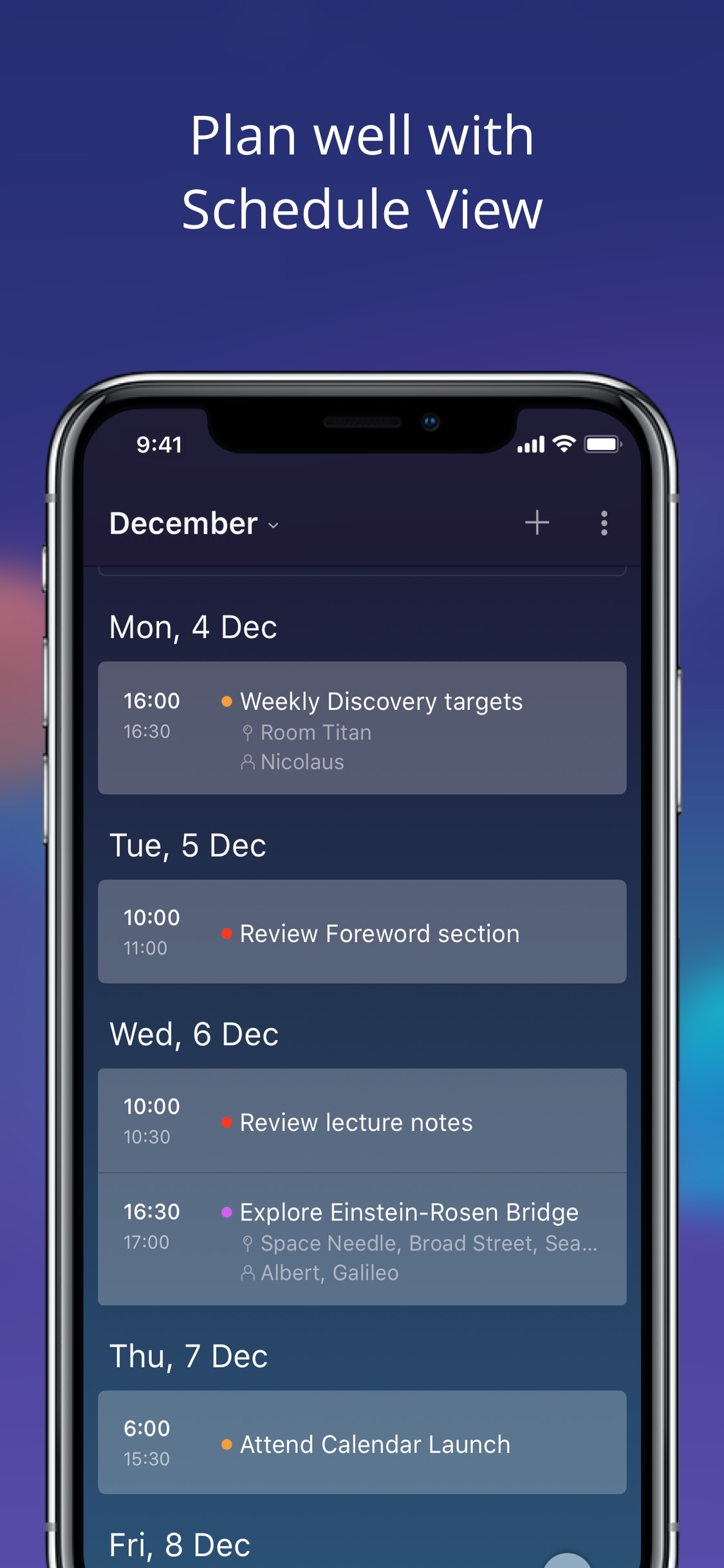 Screenshot do app Newton Calendar
