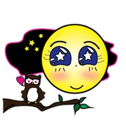 Moon And The Owl Emoji Sticker