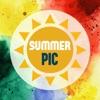 Summer Pic – 夏、ビーチ、海、太陽, 美しくデザインされたフレームとステッカー