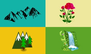 Waterfall, Mountain & Flower